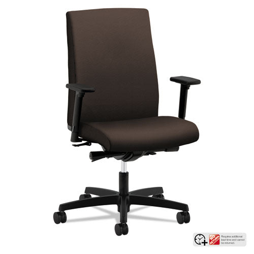 Mid-Back Work Chair with a Black Base See Office Furniture desks, chairs, and more at officefurnitureusa.store.