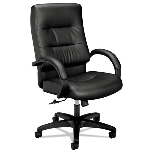 Black Leather Executive High-Back Chair with a Black Base See Office Furniture desks, chairs, and more at officefurnitureusa.store.