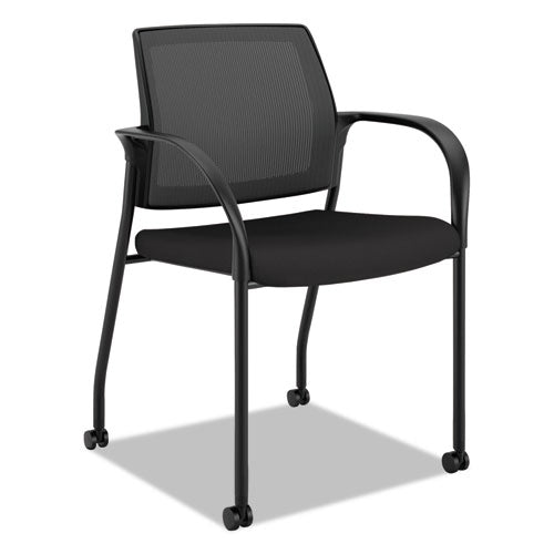 Stretch Mesh Back Mobile Stacking Chair with All Surface Casters See Office Furniture desks, chairs, and more at officefurnitureusa.store.