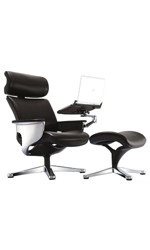 Lifetime Warranty high back executive Chair with laptop holder and ottoman See Office Furniture desks, chairs, and more at officefurnitureusa.store.