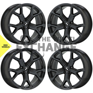 21x9.5 21x10.5 BMW X5 X7 Black Chrome wheels rims Factory OEM set 4 86466 86468