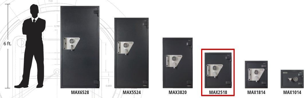 AMSEC MAX15 Composite Burglary & Fire Safe MAX2518 Sizing