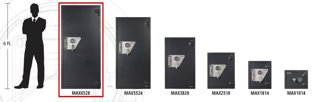 AMSEC MAX15 Composite Burglary & Fire Safe MAX6528 Sizing