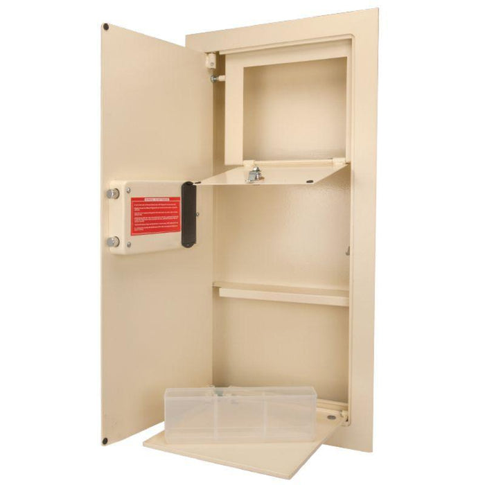 Barska 0.82 Cubic Ft Left Opening Beige Color Biometric Wall Safe AX12880