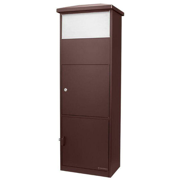 Barska MPB-600 Parcel Mail Box, Brown, w/ One Big Parcel, Stainless Steel Drop Door CB13334