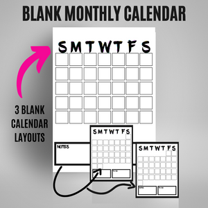Monthly Calendar - 90's Vibes | Bullet Journal Inserts | Printable Planning Pages