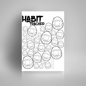 Tamagotchi Inspired Habit TrackerHabit Tracker - 90's Vibes | Bullet Journal Inserts | Printable Planning Pages