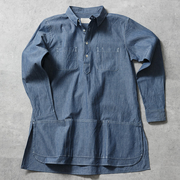 "CHAMBRAY LONG APRON SHIRT ""RIFT"""