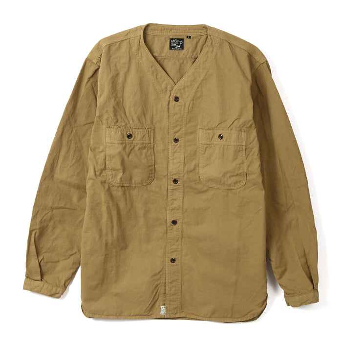 NO COLLAR SHIRT CHINO TWILL
