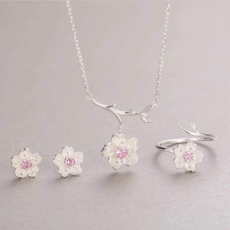 RYOUCUTE Fashion Wedding Bridal Jewelry Sets 925 Sterling Silver Zirconia Flower Choker Necklaces Earring For Women Dubai Bijoux