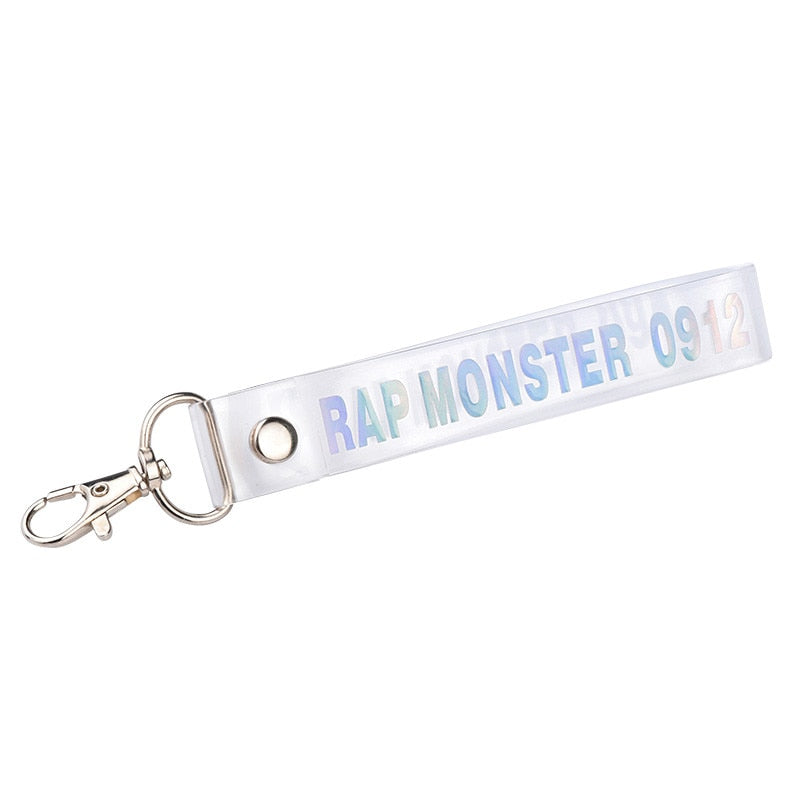 1PC Fashion KPOP Keyring Transparent KOOKIE Key Chain Bangtan Boys Love Yourself SUGA J-HOPE Rope Keychain Jewelry
