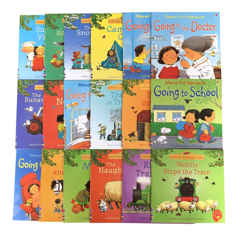 Random 4 books 15x15cm Usborne Picture Books Children Baby English Farmyard Tales Series Farm Story Book