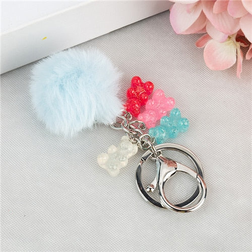 1PC  Gummy Bear Keychain Flatback Resin Pendant Charms Colorful  Handbag Keyring for women