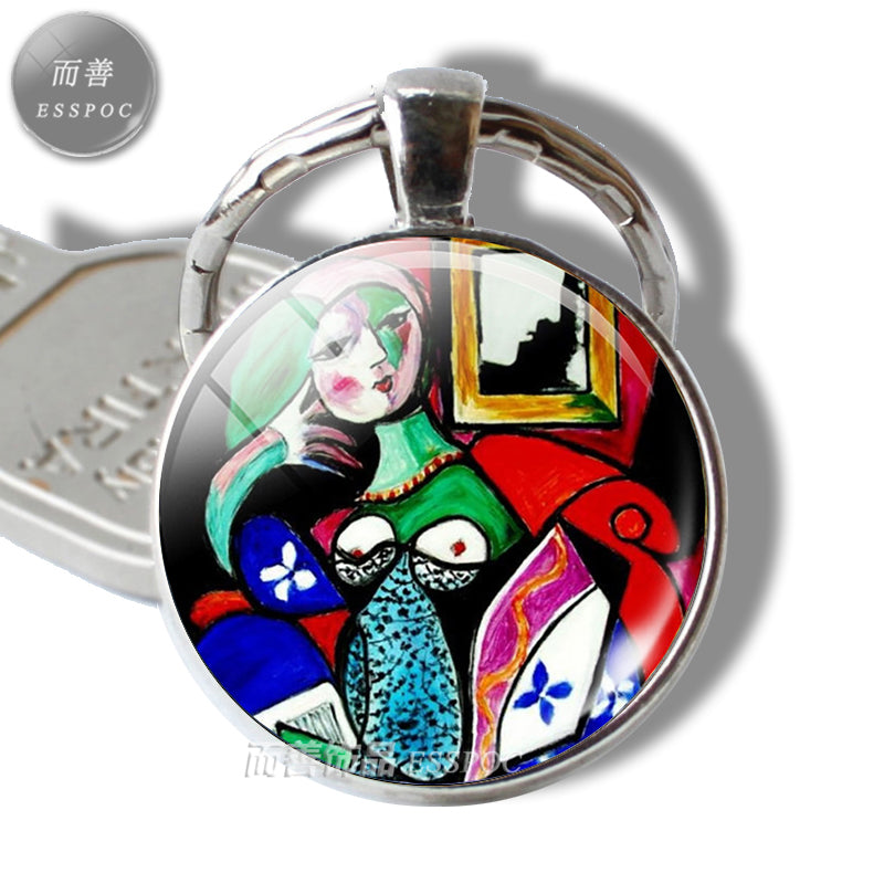 Picasso Pendant Fashion Accessories Keychain Abstract Oil Painting Photo Handmade Art Jewelry Glass Dome Silver Key Ring Gift