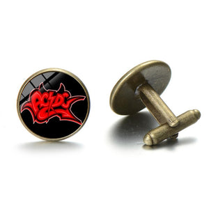 SONGDA Rock Band ACDC Punk Cufflinks Trendy Hard Rock Music AC/DC Logo Glass Round Cuff Link Mens Music Party Cuff Accessories