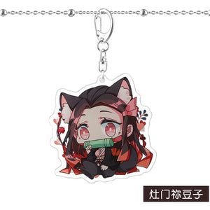 Anime Demon Slayer Kimetsu No Yaiba Keychain Kamado Tanjirou Kamado-Nezuko Tomioka Giyuu Acrylic Key Chain Cute Funny Cartoon