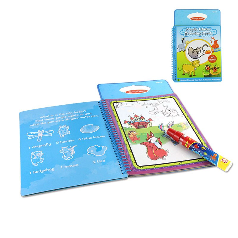6 Types Water Drawing Book Coloring Mat Doodle & 1 Magic Pen Reusable Painting Board Juguetes for Kids Drawing Toys Xmas Gift