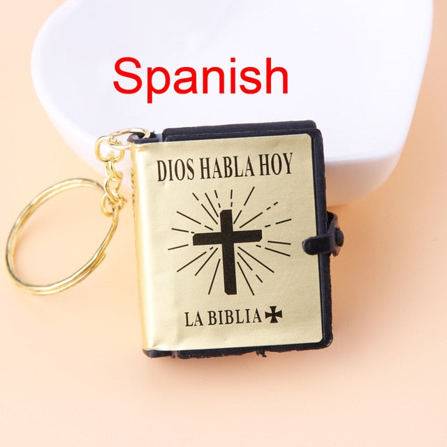 English Spanish Mini HOLY Bible Keychain Religious Christian Jesus Cross Key Chain Women Prayer God Bless Gift Souvenirs Keyring