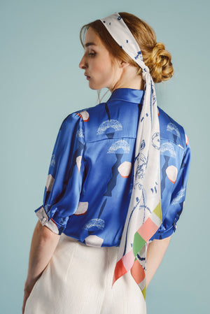 Paris silk blouse with neck ribbon - AEIBE