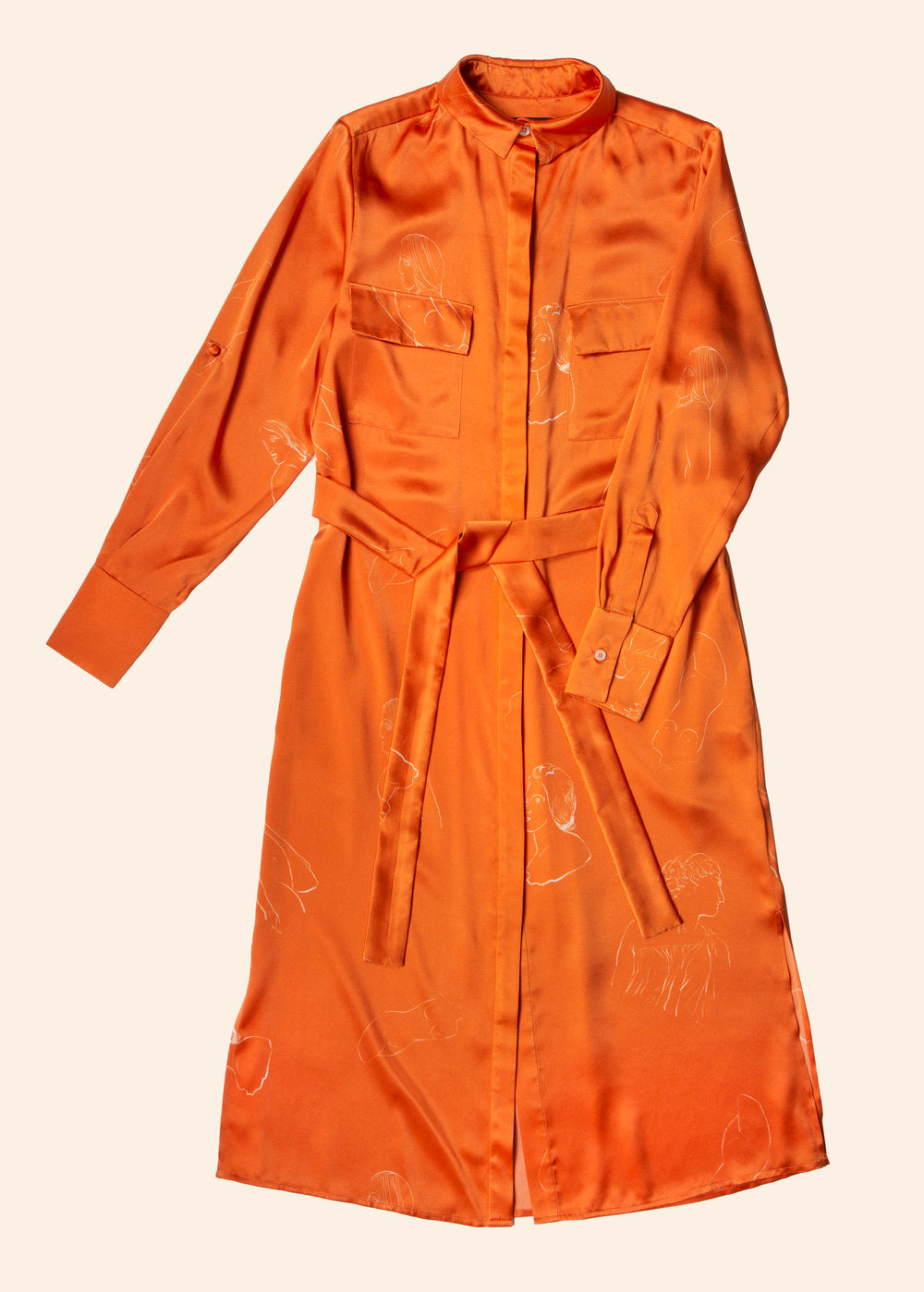 Anna silk dress - Museum orange - AEIBE