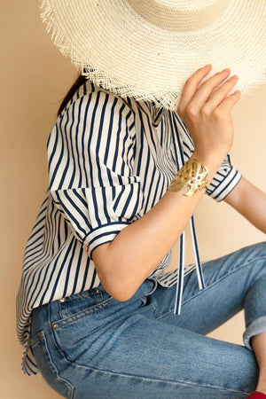 Marina blouse with neck ribbon - Blue stripe - AEIBE
