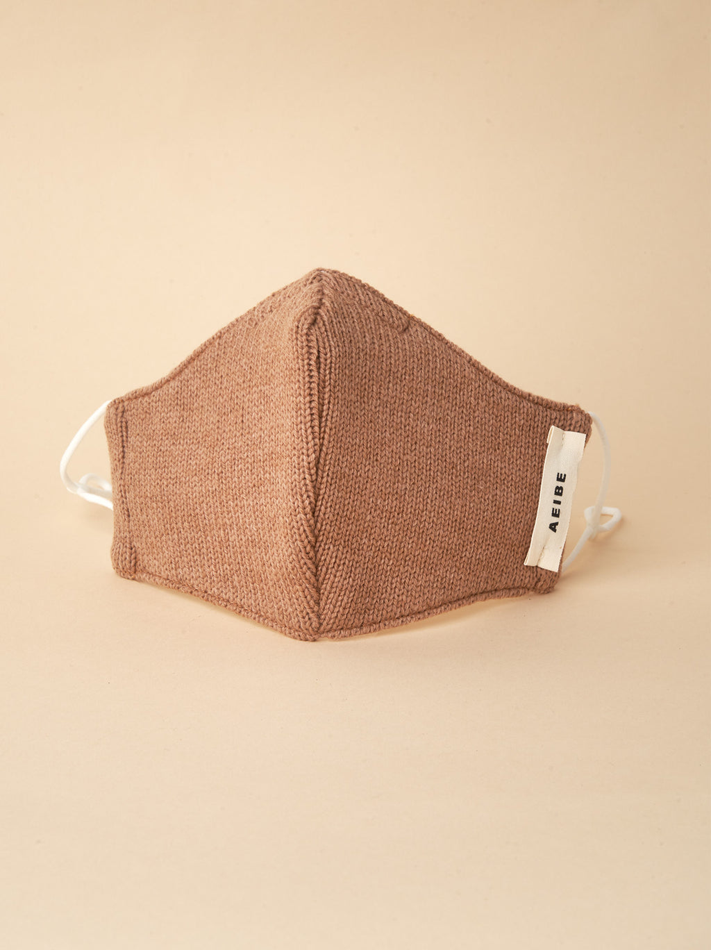 3Ply Filtered face mask, Lambswool Knit Camel - AEIBE