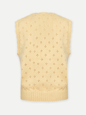 Daisy pure wool vest, Pastel Yellow - AEIBE