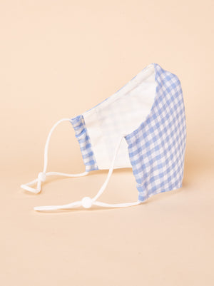 3Ply Filtered face mask, Gingham Powder Blue - AEIBE