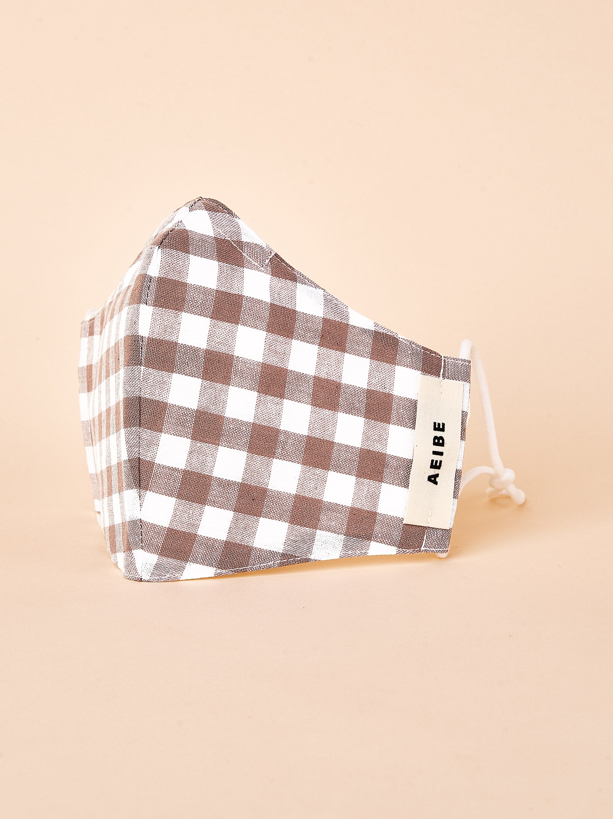 3Ply Filtered face mask, Gingham Beige - AEIBE