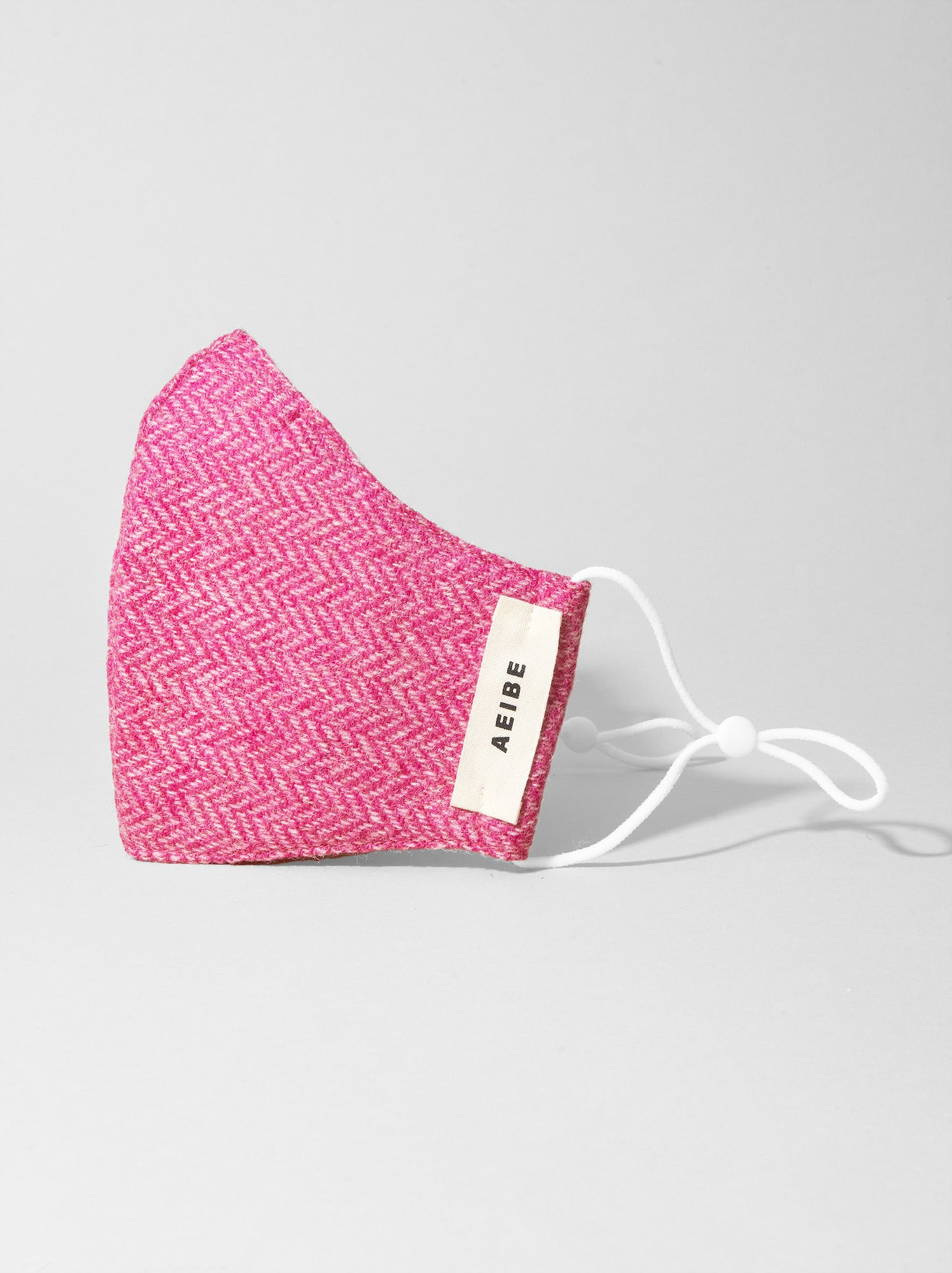 3Ply Filtered Wool face mask, Pink Herringbone - AEIBE