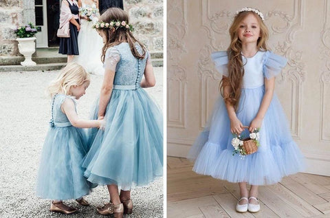 11 Dusty Blue Tulle Flower Girl Dresses for Toddlers