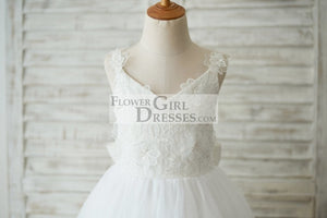 Ankle Length Ivory Lace Tulle 3D Flowers Wedding Flower Girl Dress with Big Bow