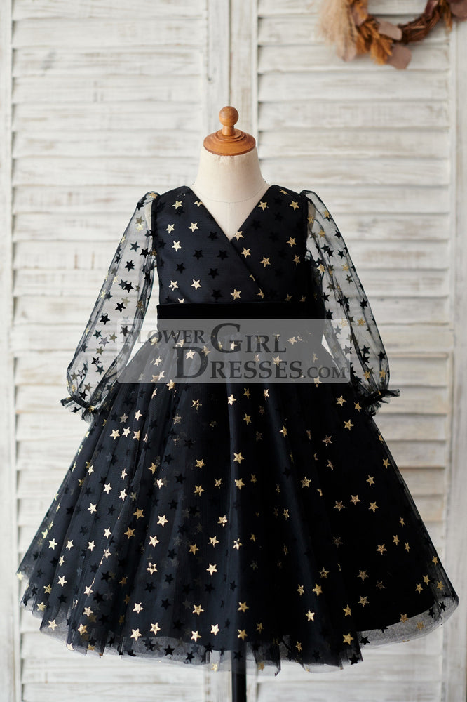 Black Gold Star Tulle V Back Long Sleeves Wedding Flower Girl Dress