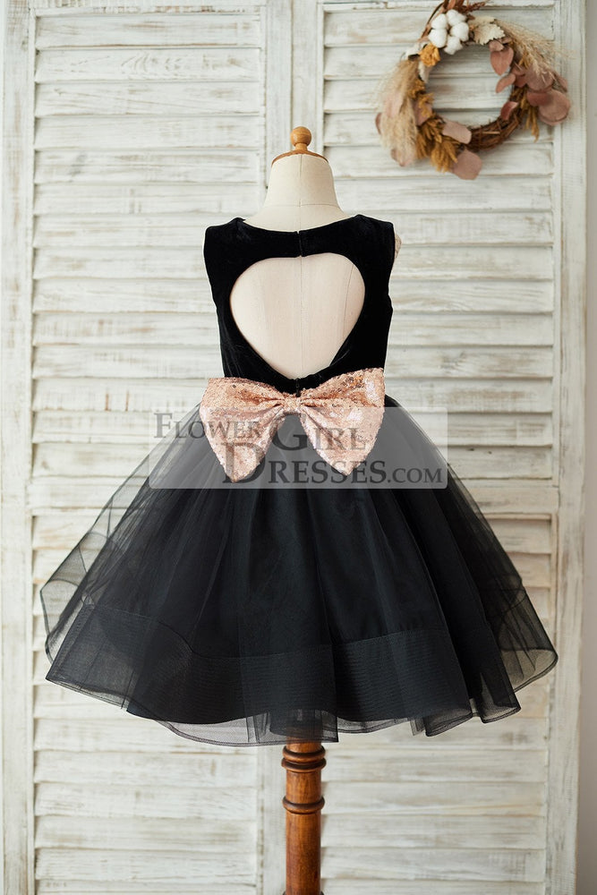 Black Velvet Tulle Keyhole Back Wedding Flower Girl Dress with Sequin Bow