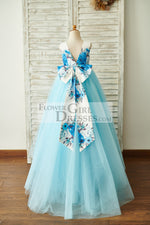 Blue Printed Floral Satin Tulle V Back Wedding Flower Girl Dress with bow