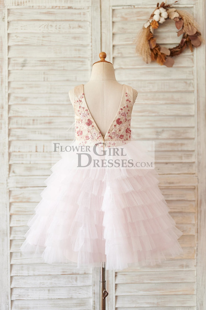 Blush Pink Tulle Embroidery Lace V Back Wedding Flower Girl Dress