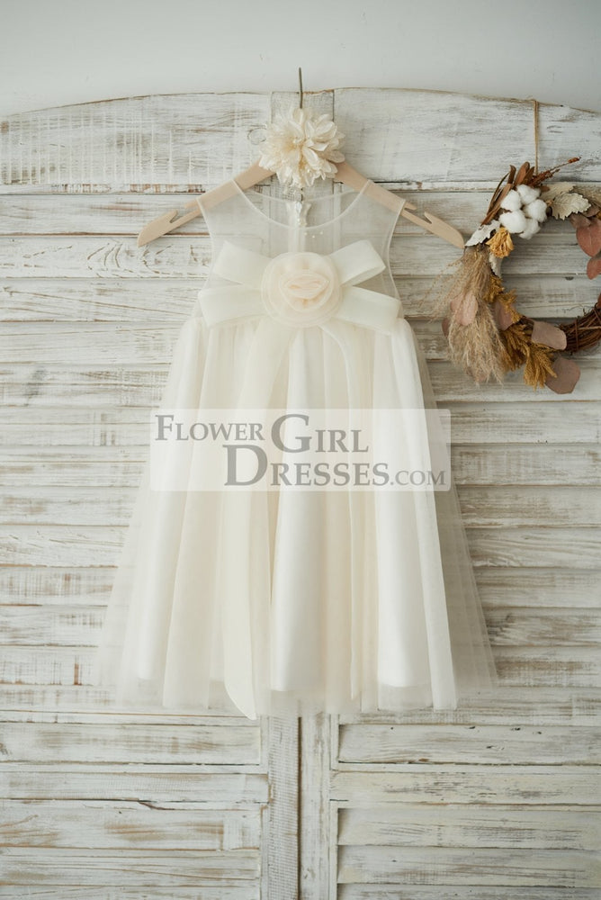 Boho Beach Champagne Tulle Wedding Flower Girl Dress with Bow