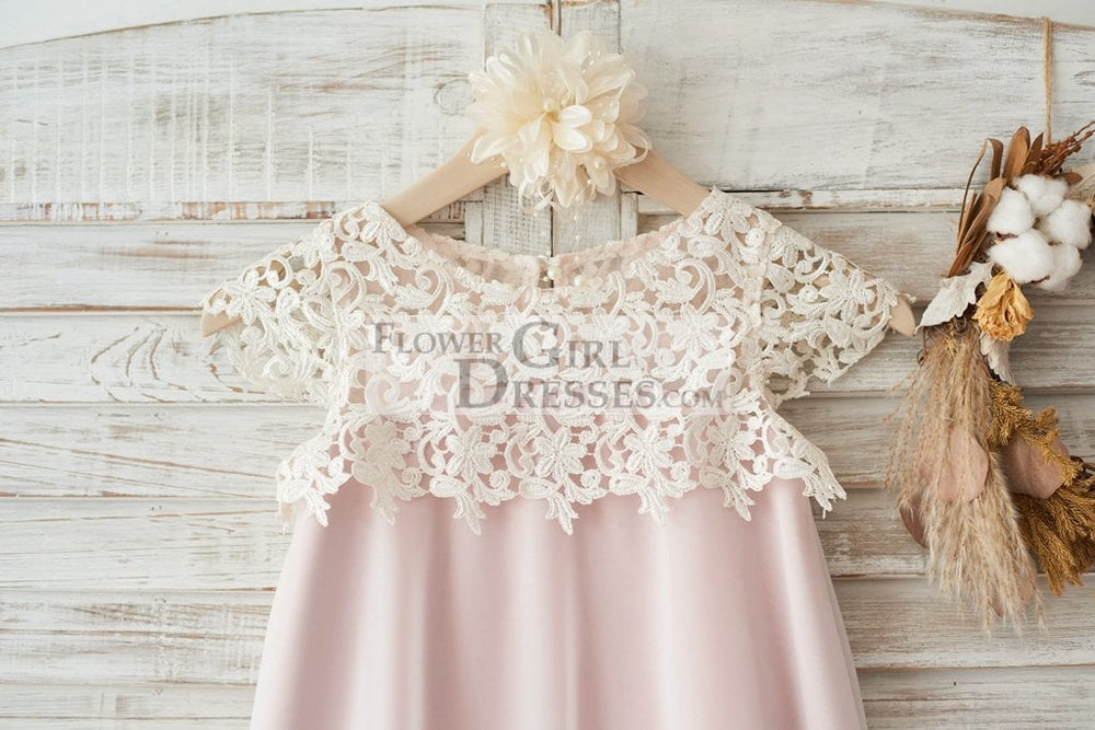 Boho Beach Lace Cap Sleeves Ivory Chiffon Wedding Flower Girl Dress with Pink Lining