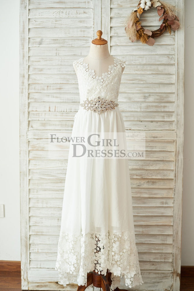 Boho Beach Lace Chiffon Backless Long Wedding Flower Girl Dress with Belt
