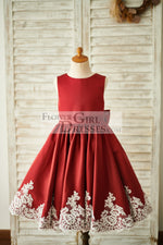 Burgundy Satin Ivory Lace Keyhole Back Wedding Flower Girl Dress