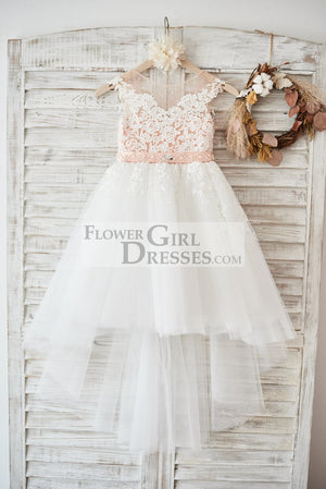 Cap Sleeves Ivory Lace Tulle Hi Low Wedding Party Flower Girl Dress with V Back / Beading