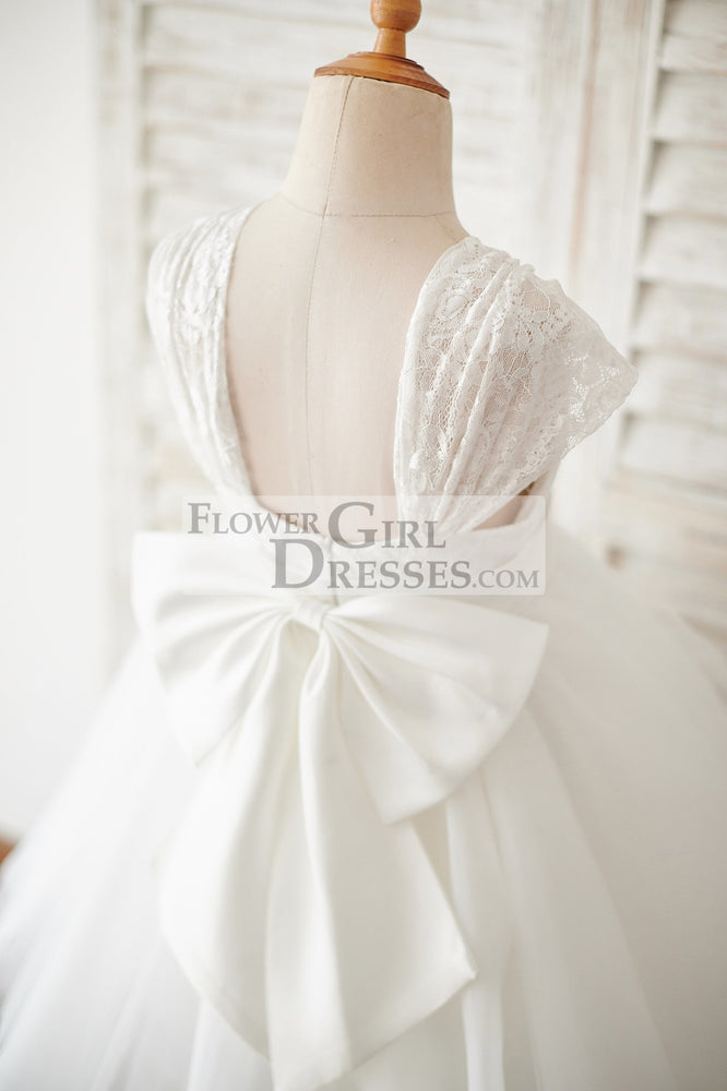Cap Sleeves Ivory Lace Tulle Wedding Flower Girl Dress with Big Bow