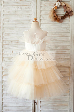 Champagne Cupcake Tulle Beaded Lace Wedding Flower Girl Dress