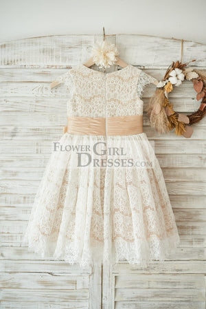 Champagne Satin Ivory Lace Cap Sleeves Wedding Flower Girl Dress with Bow Belt