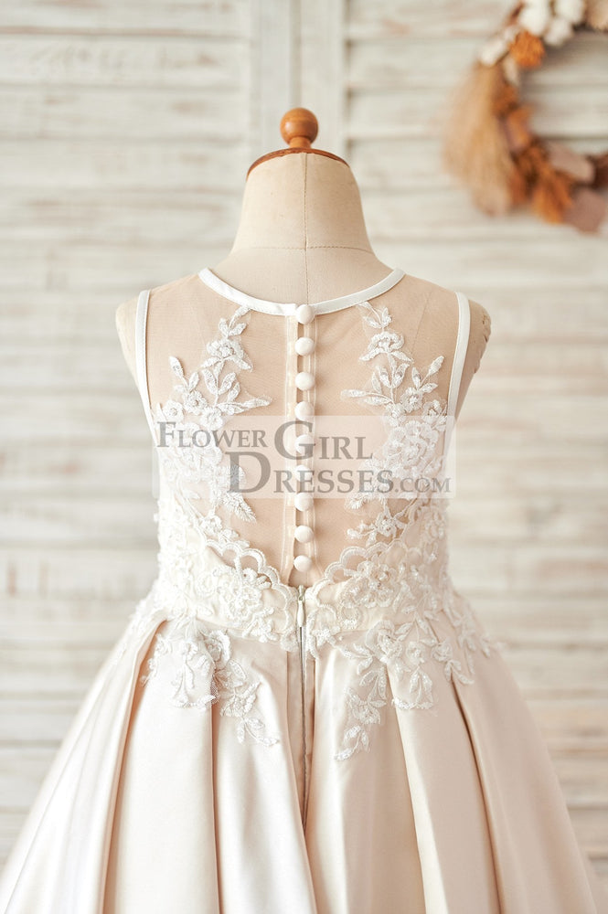 Champagne Satin Ivory Lace Sheer Back Wedding Flower Girl Dress