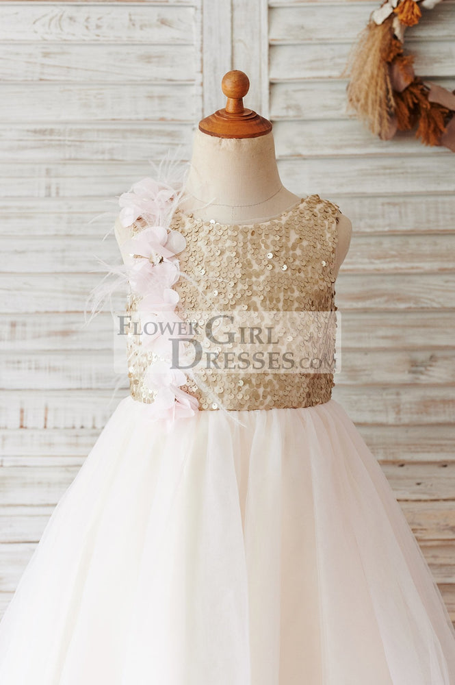 Champagne Sequin Tulle V Back Wedding Party Flower Girl Dress