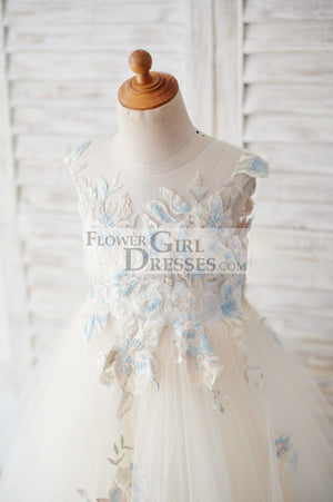 Champagne Tulle Beaded Lace V Back Wedding Flower Girl Dress