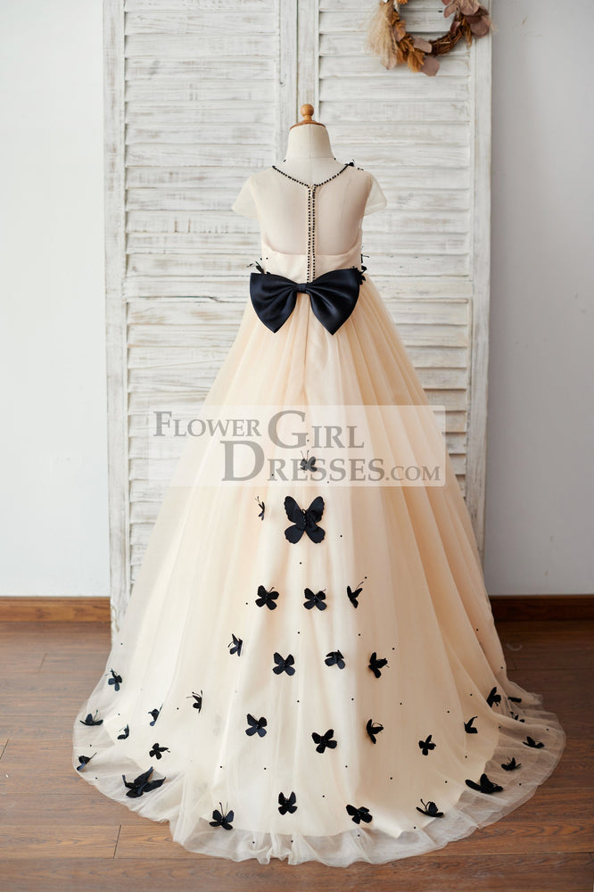 Champagne Tulle Cap Sleeves Wedding Flower Girl Dress with Black Butterflies