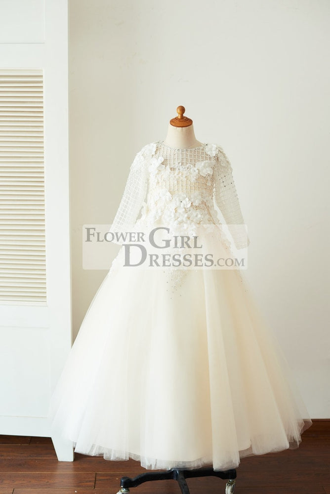 Champagne Tulle Long Sleeves Wedding Party Flower Girl Dress with 3D Flowers / Beads