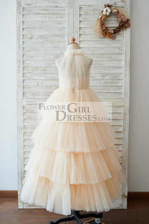 Cupcake Champagne Tulle Halter Neck Floor Length Wedding Flower Girl Dress